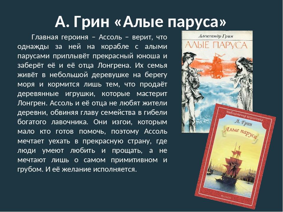 А. Грин «Алые паруса» Главная героиня – Ассоль – верит, что однажды за ней на...